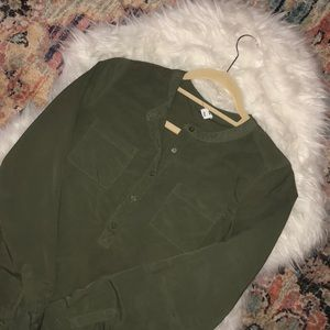 Long sleeve army green blouse